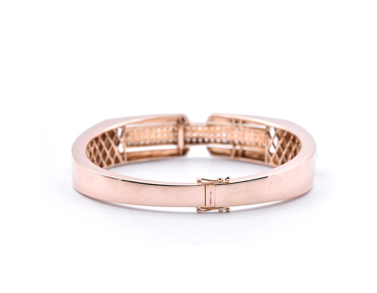 18 Karat Rose Gold Pave Diamond Shield Bangle Bracelet In Excellent Condition For Sale In Scottsdale, AZ