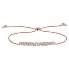 18k Rose Gold Pave Round Diamond Rectangle Bar Adjustable Bracelet