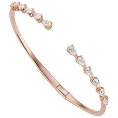 18 Karat Rose Gold Pear Diamond Cuff Bangle