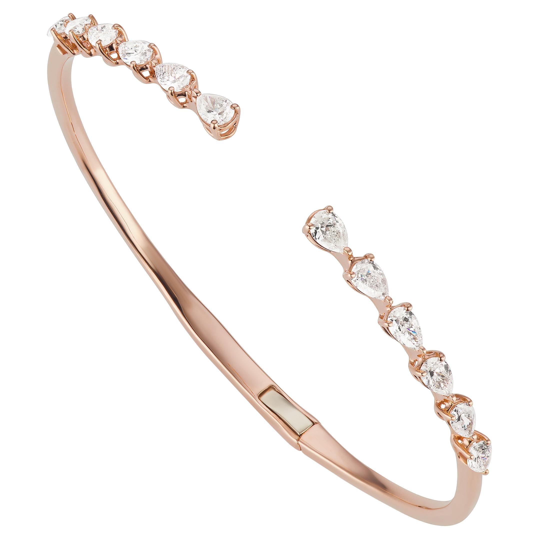 18k Rose Gold Pear Diamond Cuff Bangle