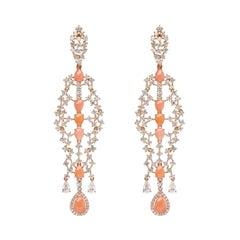 18k Rose Gold Pear Peach Coral and Diamond Dangle Earrings