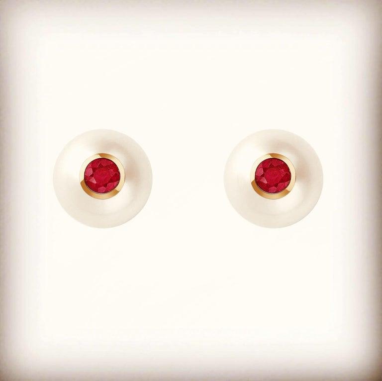 Modern 18 Karat Rose Gold, Pearls and Rubies Pair of Stud Earrings For Sale