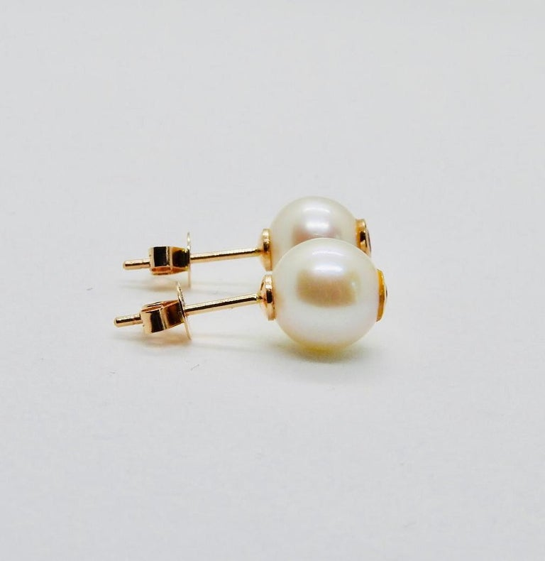 Round Cut 18 Karat Rose Gold, Pearls and Rubies Pair of Stud Earrings For Sale