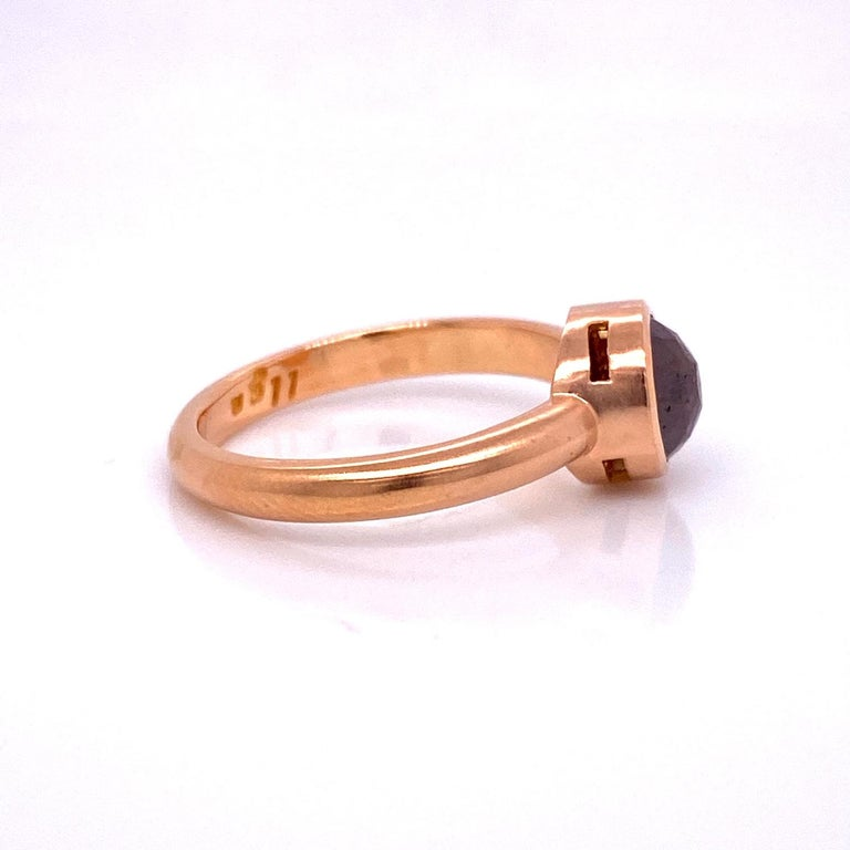 Contemporary 18 Karat Rose Gold Red Brown Rosecut Diamond Ring For Sale