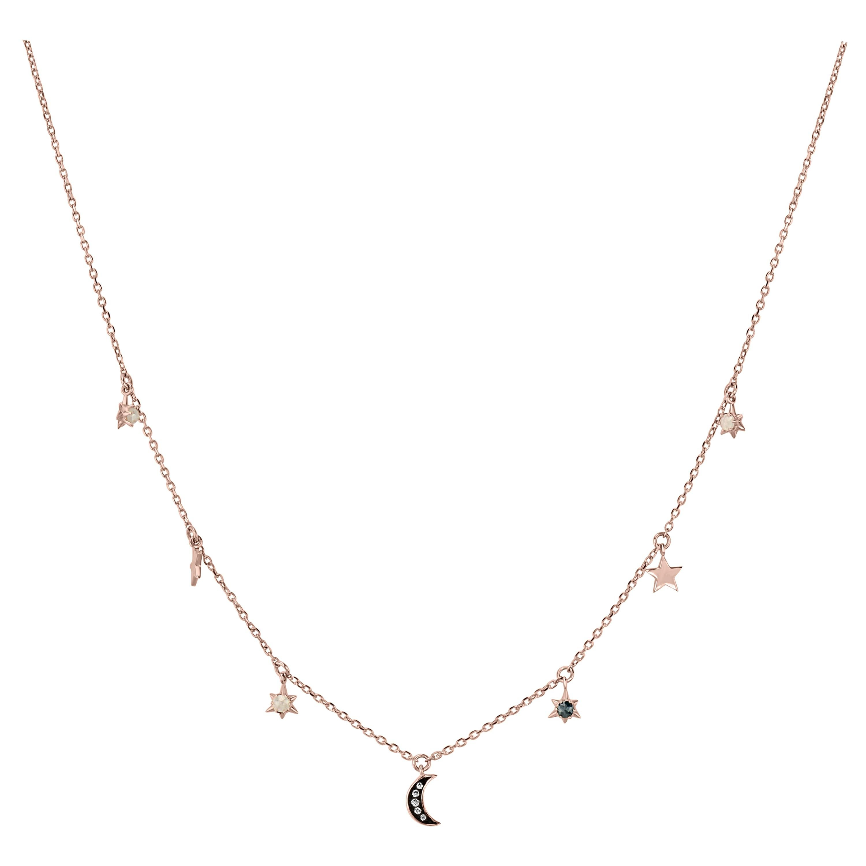 18k Rose Gold Round Rose Cut Diamond Celestial Charm Necklace
