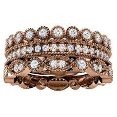 18k Rose Gold Sophie Antique Diamond Stack Ring '1 Ct. Tw'