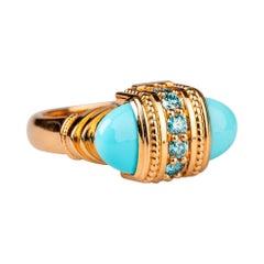 18 Karat Rose Gold Turquoise and Blue Diamond Ring