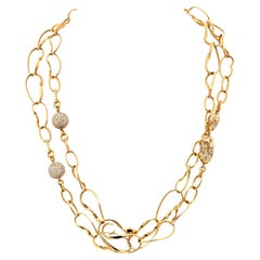 18K Rose Gold Twisted Link Bean Diamond Station Long Chain Necklace