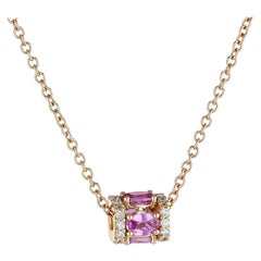 18k Rose Gold, White Diamond, and Pink Sapphire Pendant Necklace