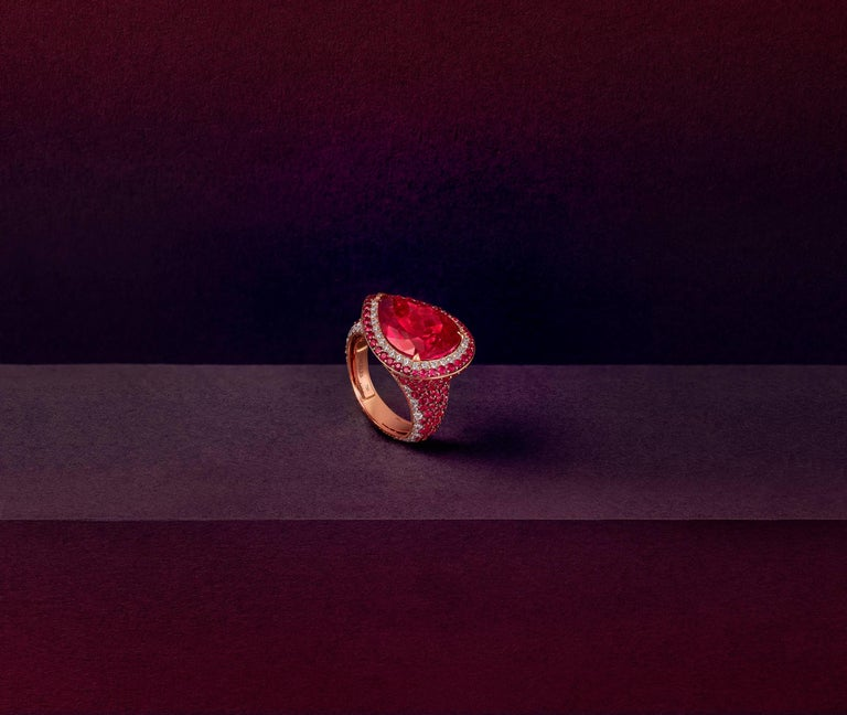 Pear Cut 18 Karat Rose Gold White Diamonds Mozambican Rubies and Rubellites Cocktail Ring For Sale
