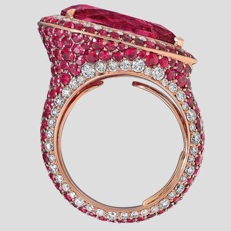 18 Karat Rose Gold White Diamonds Mozambican Rubies and Rubellites Cocktail Ring For Sale 2