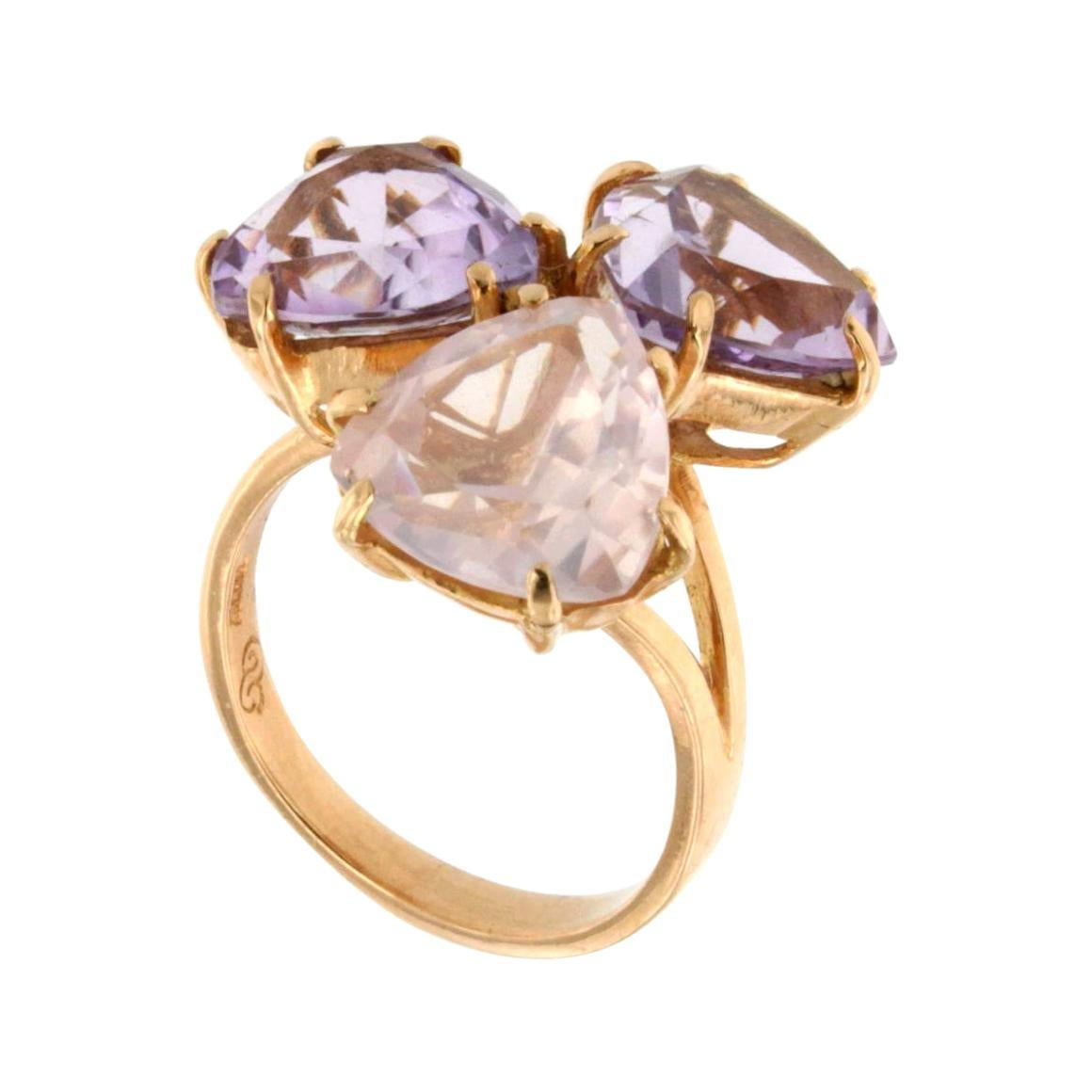 18k Rose Gold with Amethyst and Pink Quartz Ring