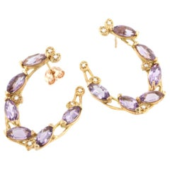 18k Rose Gold with Amethyst and White Diamonds Earrings