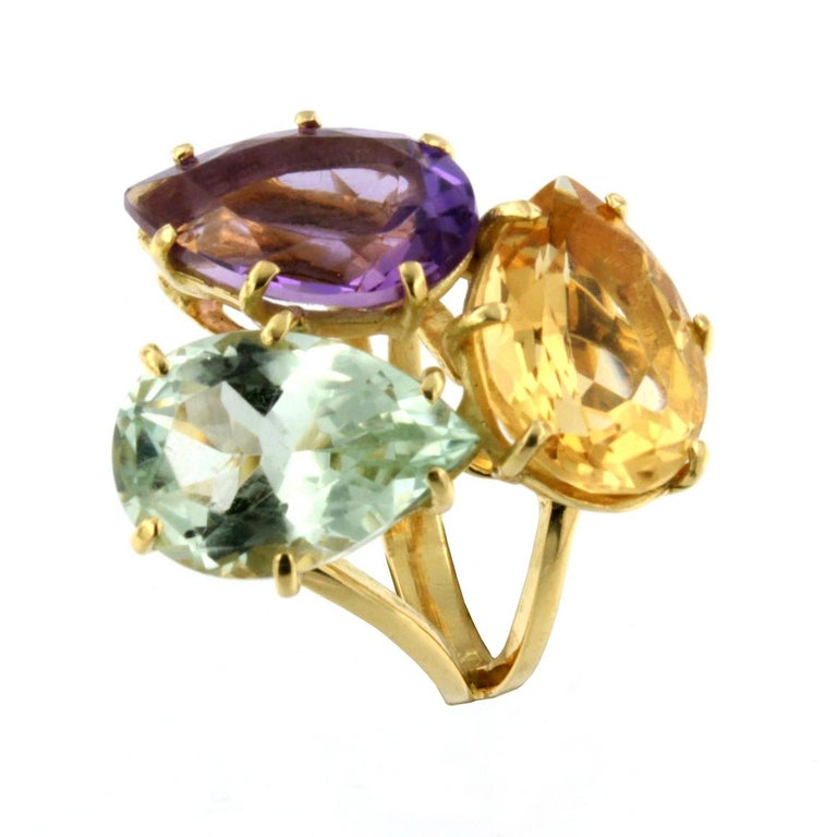Modern 18k Rose Gold With Amethyst Citrine and Prasiolite Ring For Sale