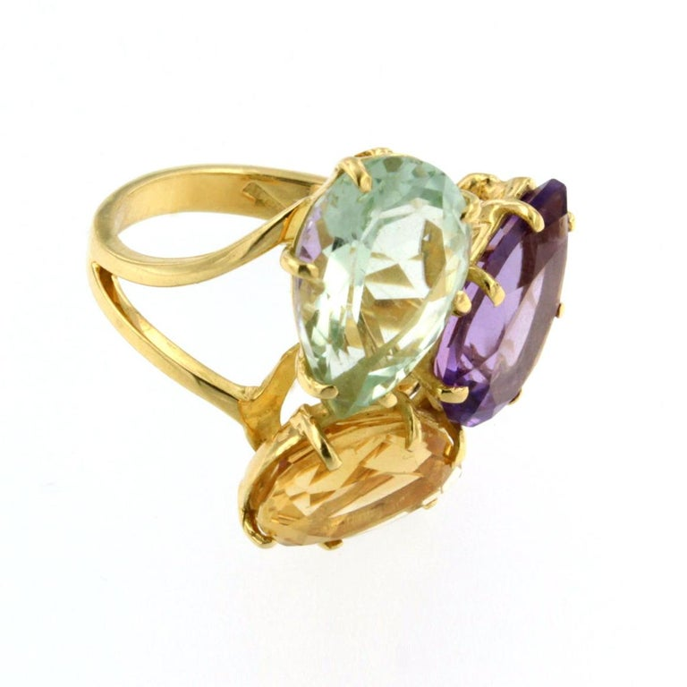Rose Cut 18k Rose Gold With Amethyst Citrine and Prasiolite Ring For Sale