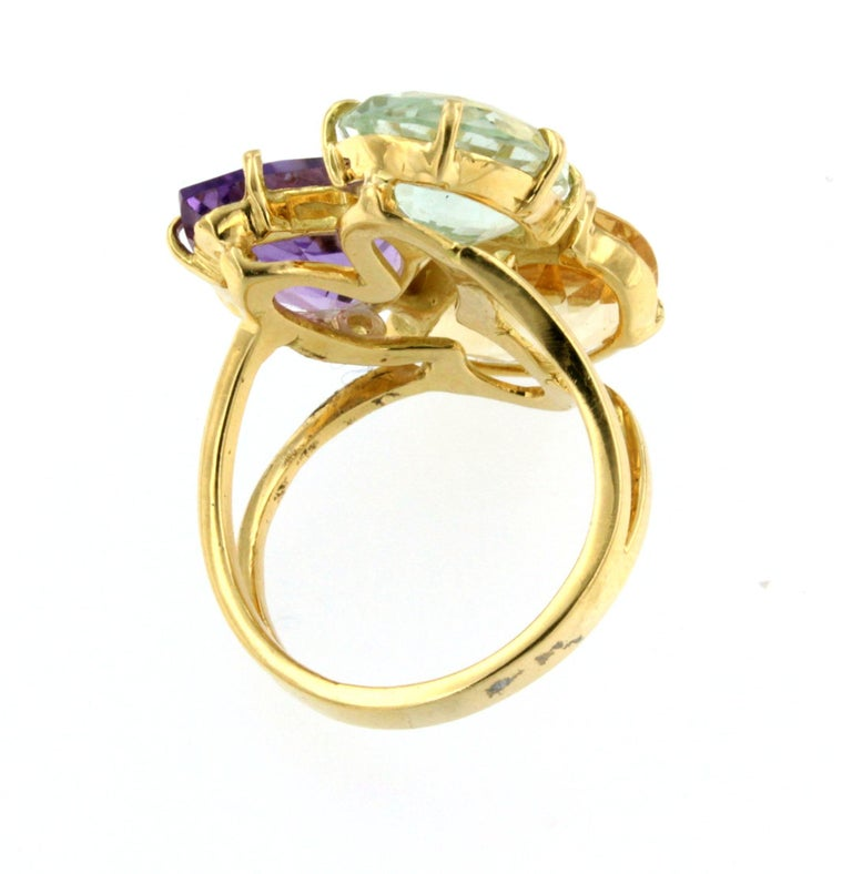 Women's or Men's 18k Rose Gold With Amethyst Citrine and Prasiolite Ring For Sale