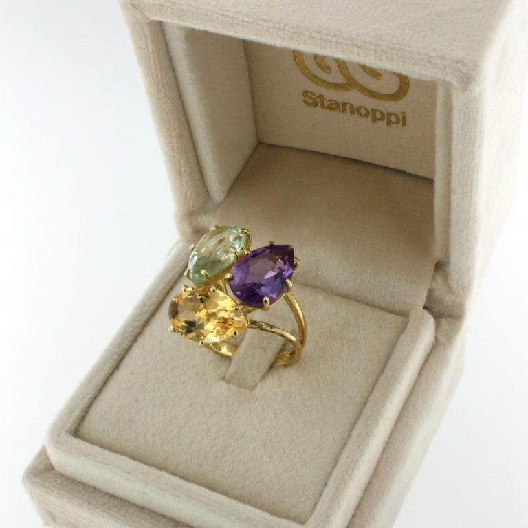 18k Rose Gold With Amethyst Citrine and Prasiolite Ring For Sale 1