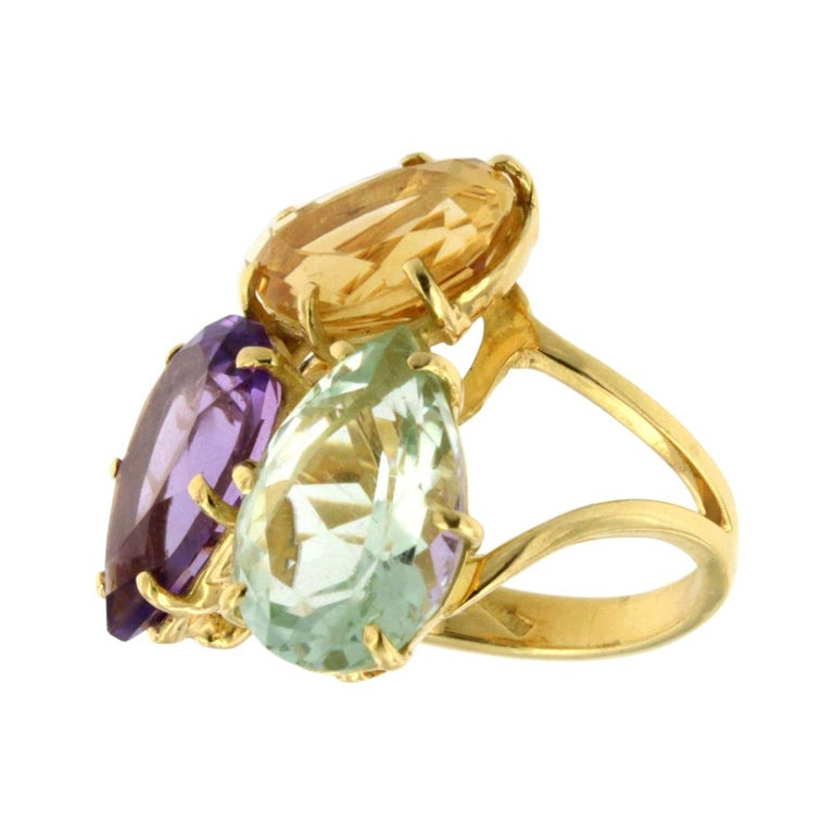 18k Rose Gold With Amethyst Citrine and Prasiolite Ring For Sale