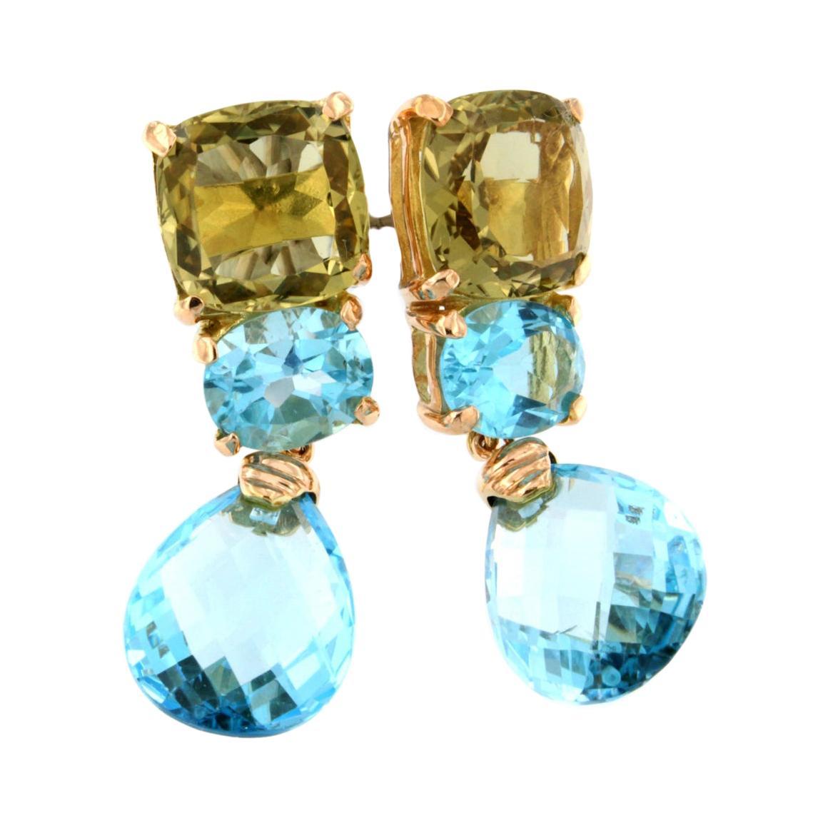 18k Rose Gold with Blue Topaz and Lemon Quartz Earrings