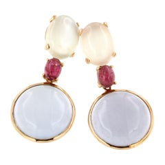 18k Rose Gold with Chalcedony Pink Tourmaline and White Moonstone Earrings