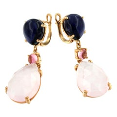18k Rose Gold with Iolite Pink Tourmaline and Pink Quartz Earrings