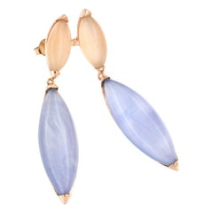 18k Rose Gold with Moonstone Mother of Pearl and Blue Topaz Earrings