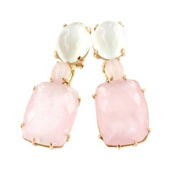 18k Rose Gold with White Moonstone and Pink Quartz Earrings