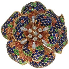 18 Karat Rose Multi-Color Blue and Orange Sapphire 3 in 1 Brooch Ring Pendant