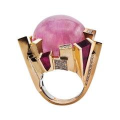 18k Rose/White Gold, White Diamonds, Rubellite, Kunzite, Ring