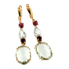 18k Rose White Gold with Prasiolite Pink Tourmaline and White Diamonds Earrings