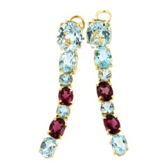 18k Rose Yellow Gold with Blue Topaz and Pink Tourmaline Earrings