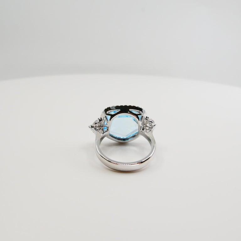 18K Rough Star Cut Baby Blue Topaz Diamond Cocktail Ring, Powder Blue, Statement For Sale 5