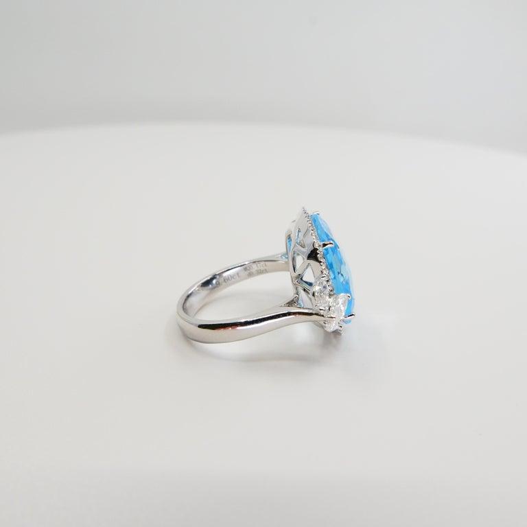18K Rough Star Cut Baby Blue Topaz Diamond Cocktail Ring, Powder Blue, Statement For Sale 6