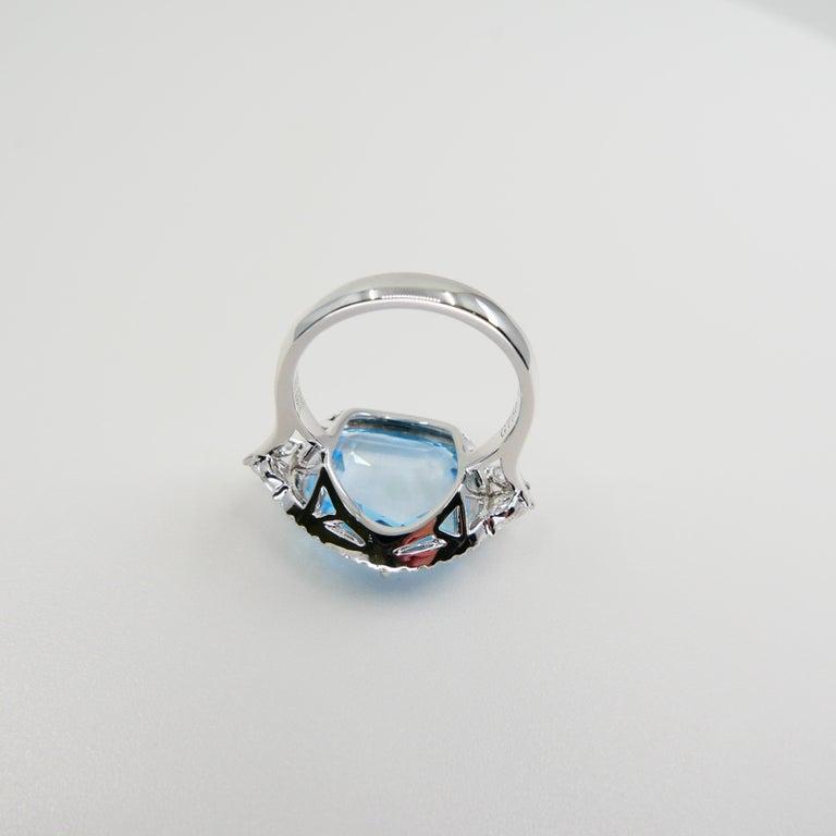 18K Rough Star Cut Baby Blue Topaz Diamond Cocktail Ring, Powder Blue, Statement For Sale 7