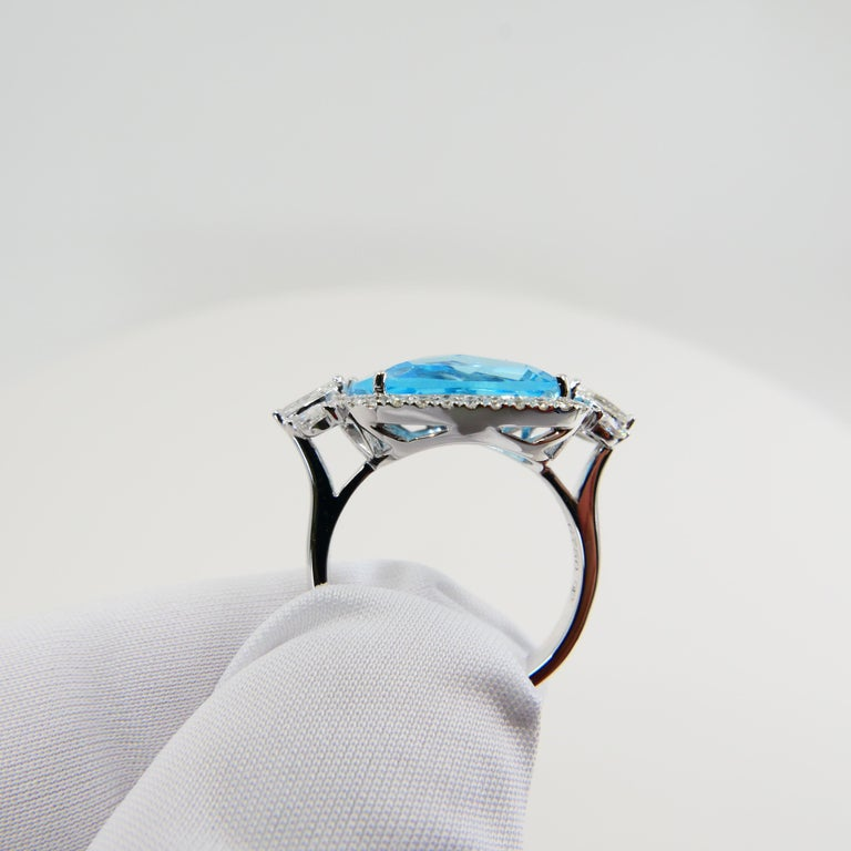 18K Rough Star Cut Baby Blue Topaz Diamond Cocktail Ring, Powder Blue, Statement In New Condition For Sale In Hong Kong, HK