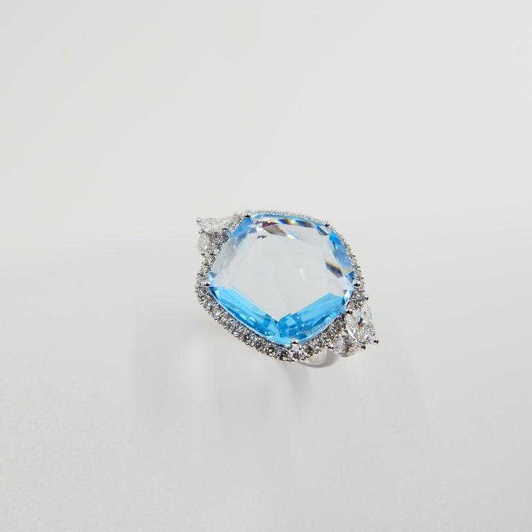 Women's 18K Rough Star Cut Baby Blue Topaz Diamond Cocktail Ring, Powder Blue, Statement For Sale