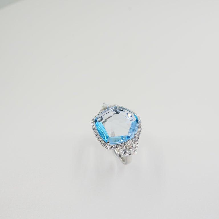 18K Rough Star Cut Baby Blue Topaz Diamond Cocktail Ring, Powder Blue, Statement For Sale 1