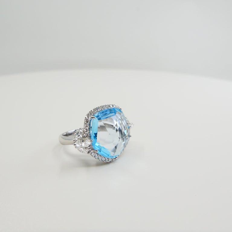 18K Rough Star Cut Baby Blue Topaz Diamond Cocktail Ring, Powder Blue, Statement For Sale 3