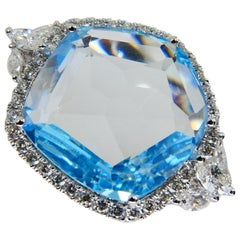18K Rough Star Cut Baby Blue Topaz Diamond Cocktail Ring, Powder Blue, Statement