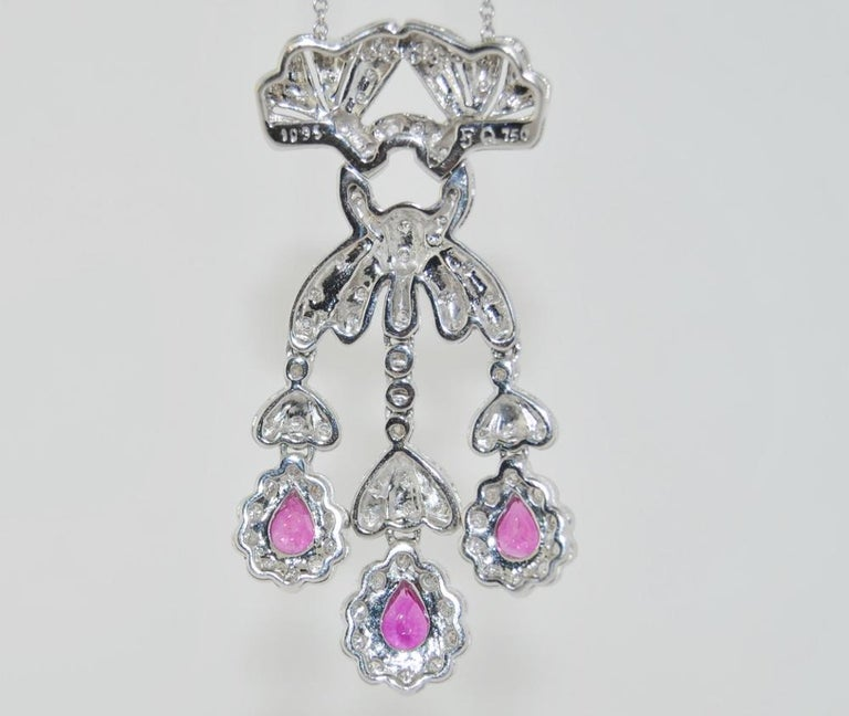 Pear Cut 18 Karat Ruby and Diamond Pendant Necklace For Sale