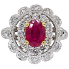 18 Karat Ruby and Diamond Double Halo Cocktail Ring