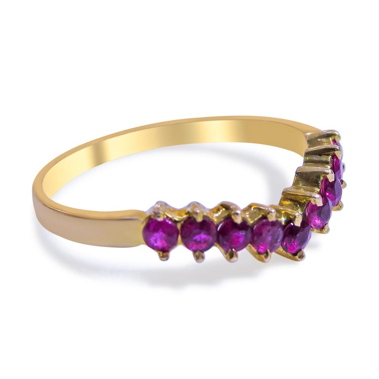 18K Yellow Gold  Weight= 1.4gr  Size= 5 1/2  Ruby= 0.18 Ct total  Year= 1980