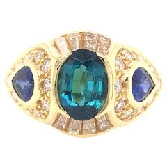 18K Sapphire and Diamond Ring Yellow Gold