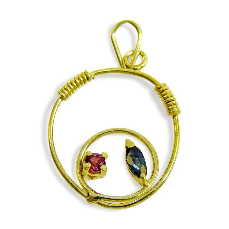 18 Karat Sapphire and Ruby Ladies Pendant In Excellent Condition For Sale In Jackson Heights, NY