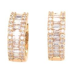 18K Small Diamond Huggie Yellow Gold