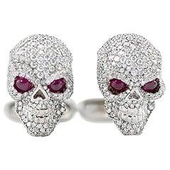 18 Karat Solid Gold and 3.5 Carat Diamond Skull Cufflinks w/Ruby Eyes 23.8 Grams