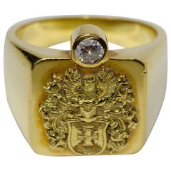 18k Solid Gold Men's Signet Ring with Diamond Solitaire, Noble Coat of Arms