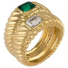 "18k Solid ""Toi et Moi"" Emerald Cut 1.00ct Diamond Columbian Emerald Twin Ring"
