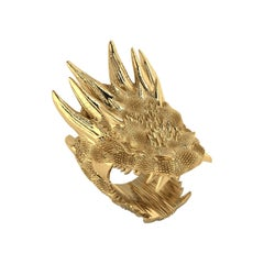 18k Solid Yellow Gold Dragon Ring