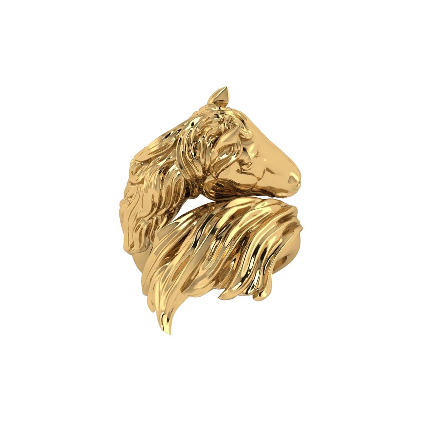 18k Solid Yellow Gold Horse Ring